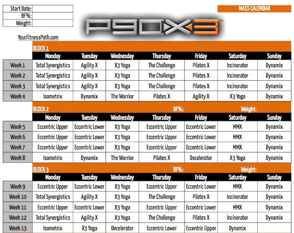 P90X3 Mass Schedule - Workout Schedules and Calendars : Workout ...