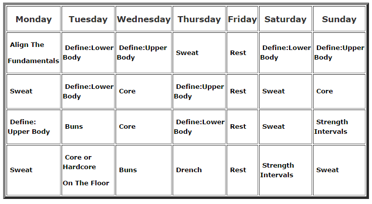 PiYo Workout Schedule Click Image For PDF